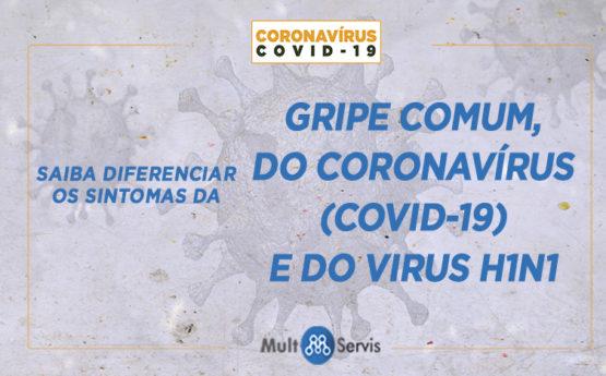 Saiba diferenciar os sintomas da gripe comum, Coronavírus (COVID-19) e o H1N1.